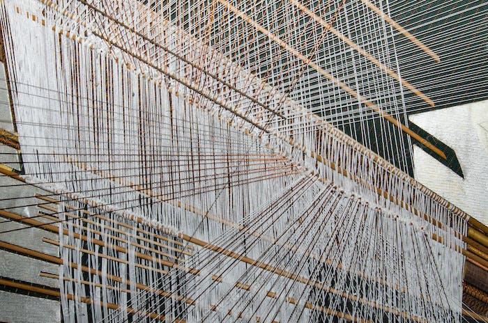 Silk hand weaving process in Thailand