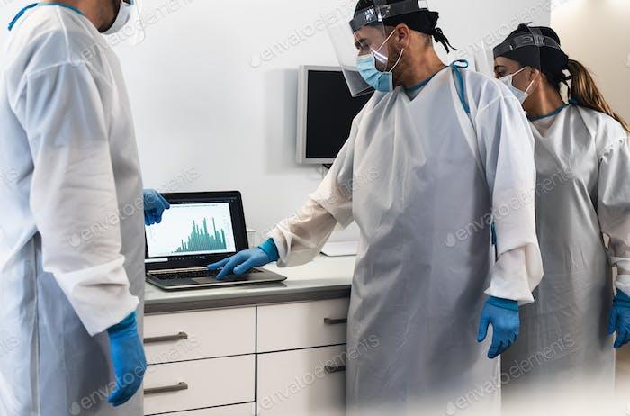 Specialist doctors fighting against corona virus outbreak
