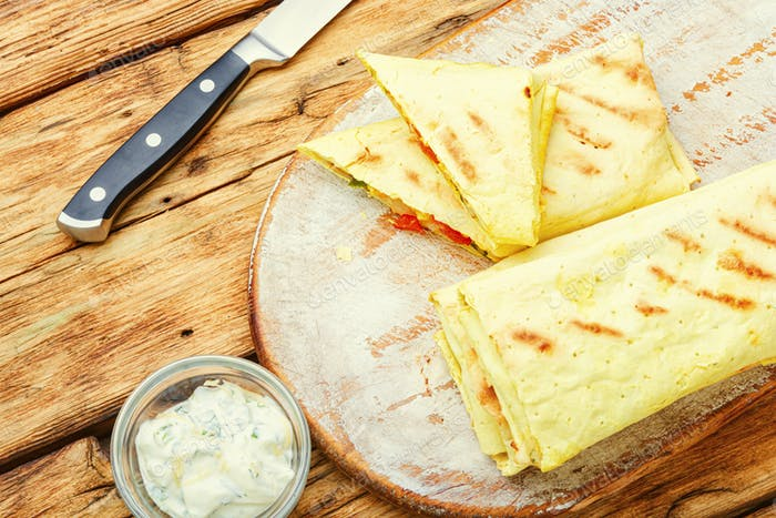 Chicken shawarma or chicken roll