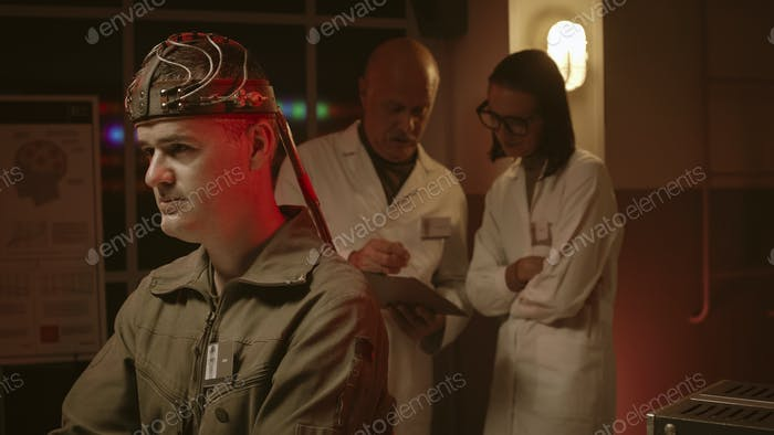 Scientists testing a human brain in a vintage style lab
