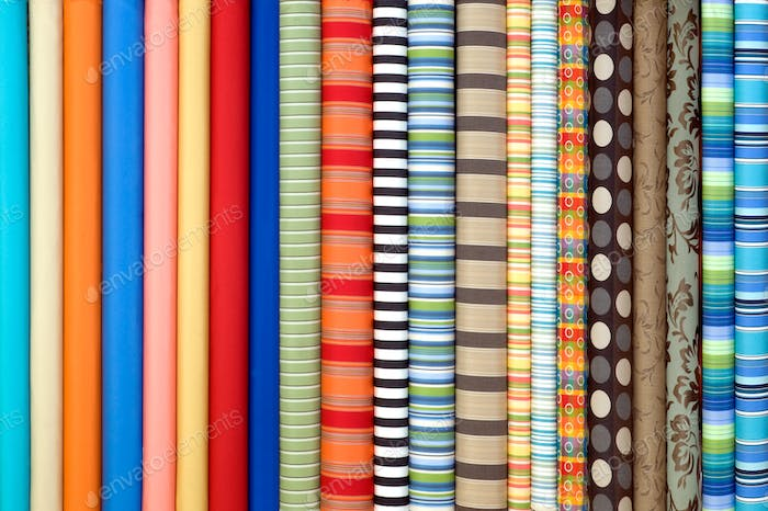 Fabric in rolls and in many colors