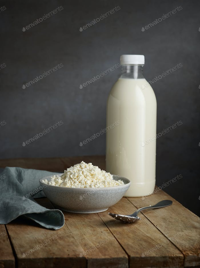 Bottle of milk and cottage cheese