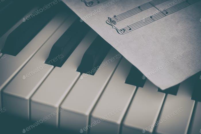 Klavier und Notenpapier