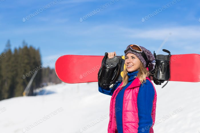 Young Girl Tourist Snowboard Ski Resort Snow Winter Mountain Happy Smiling Woman On Holiday