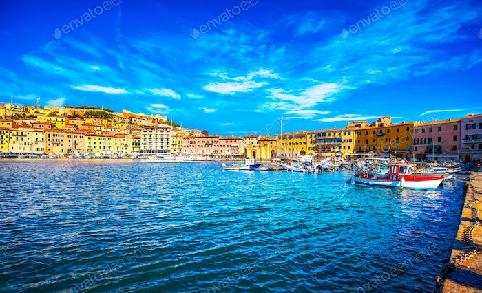 Elba island, Portoferraio village harbour and skyline. Tuscany,