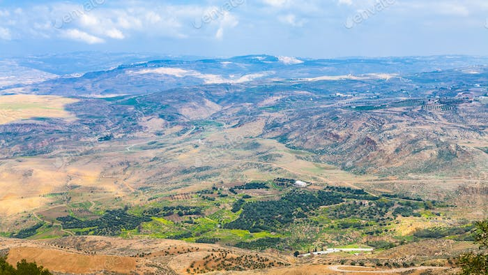 above view of Holy Land from Mount Nebo in winter