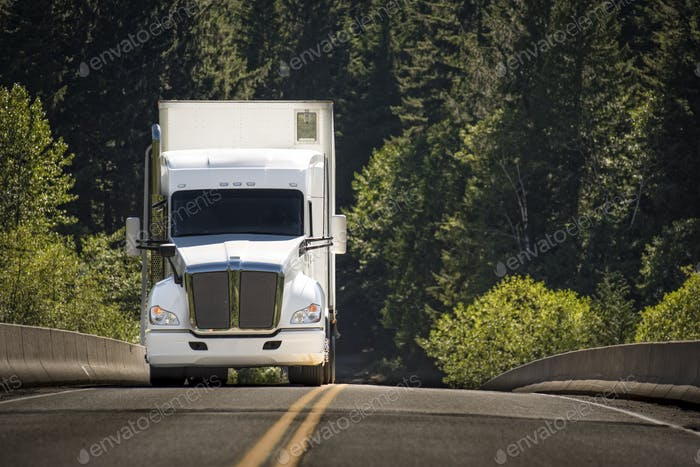 A commercial truck on the road.