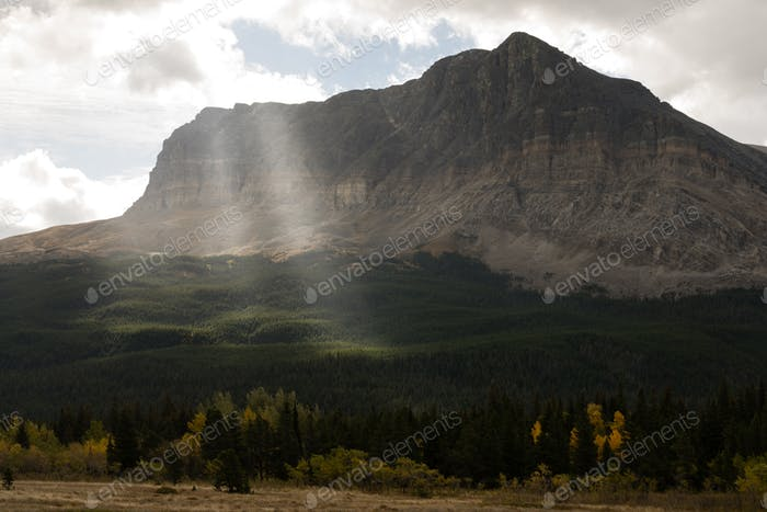 Sun Rays Break Clouds Rocky Mountains Montana Western State USA