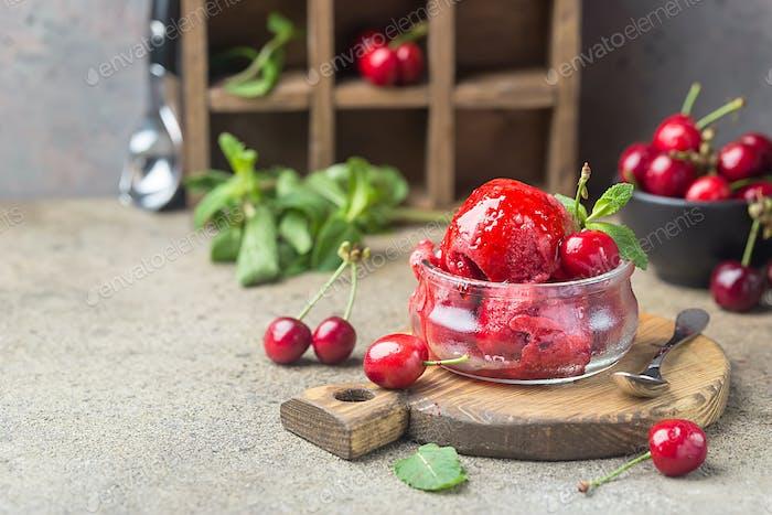 Delicious cherry ice cream