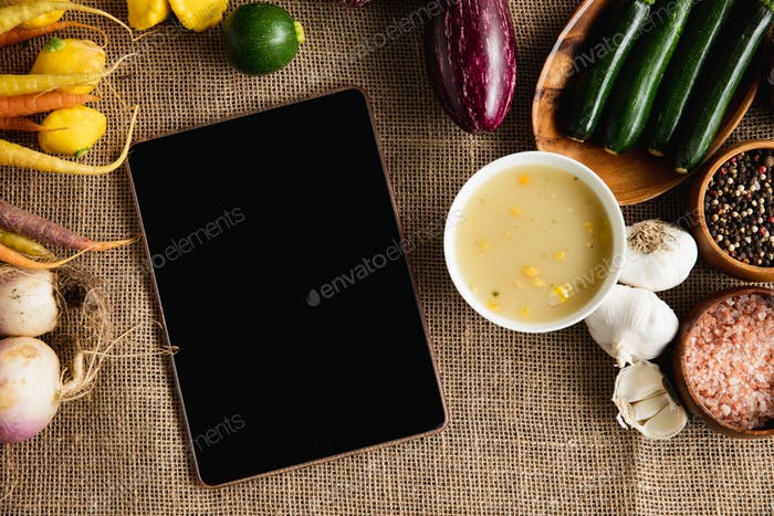 Autumn flat lay with tablet pc
