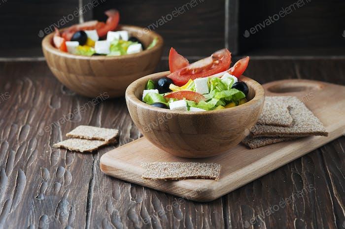 Fresh Greek salad with olive oil