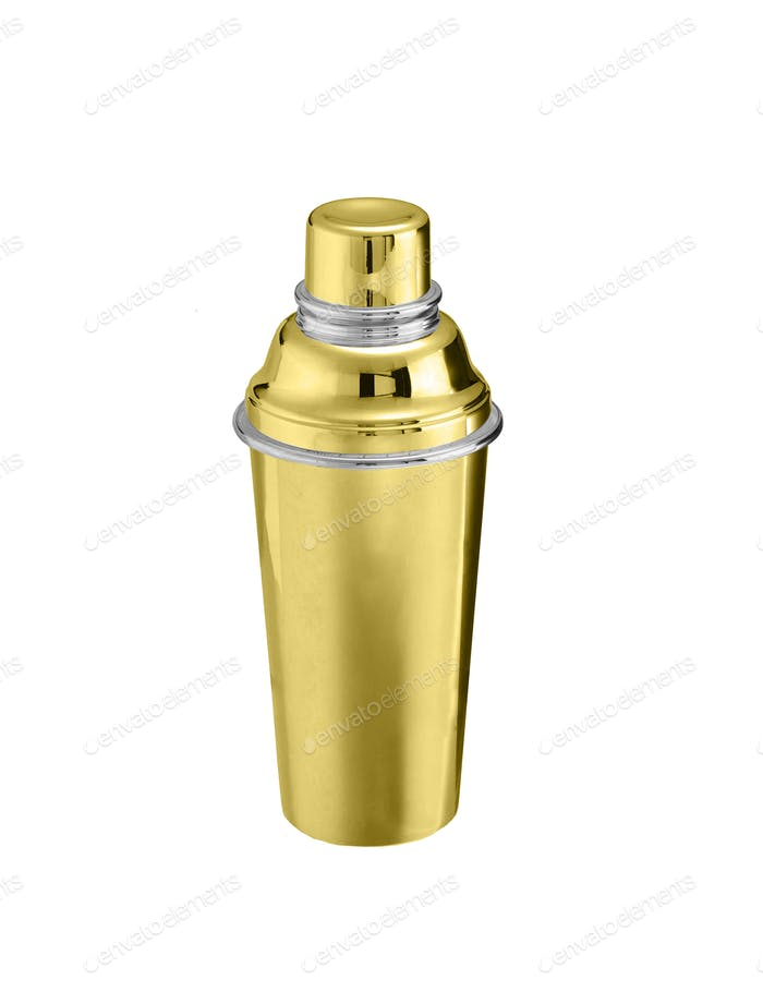 Golden big thermos isolated on white