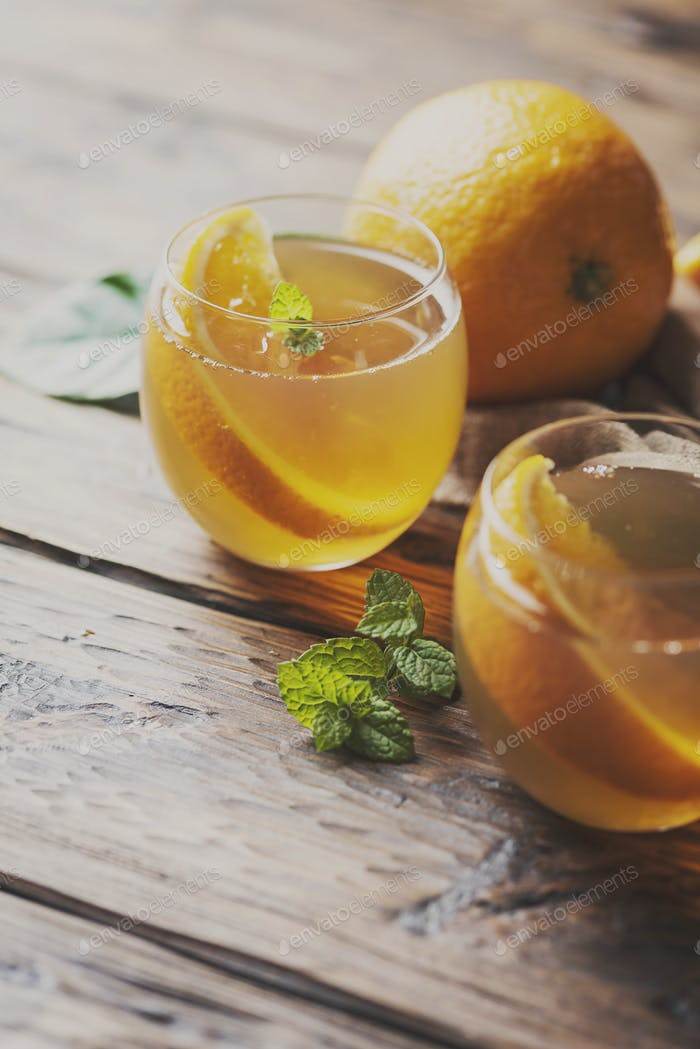 Cold tea with orange