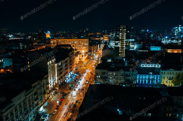 High-altitude aerial view of the city at night