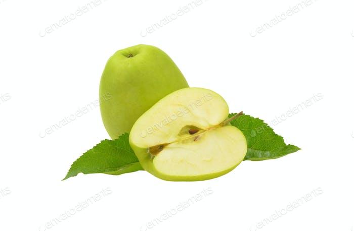 Eineinhalb grüne Äpfel