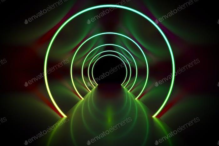 Fondo de túnel círculos de luz de neón