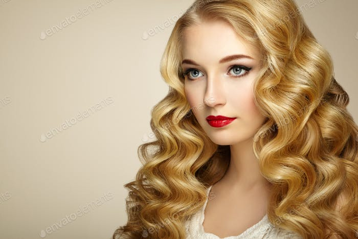 Thumbnail for Fashion portrait of young beautiful woman with elegant hairstyle