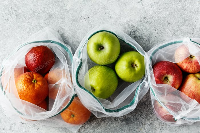 Fresh fruits in reusable bags