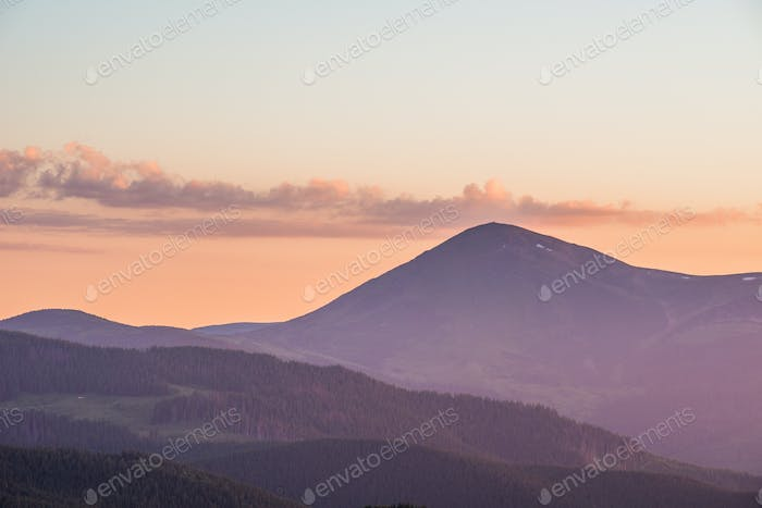 Dawn in mountains Carpathians