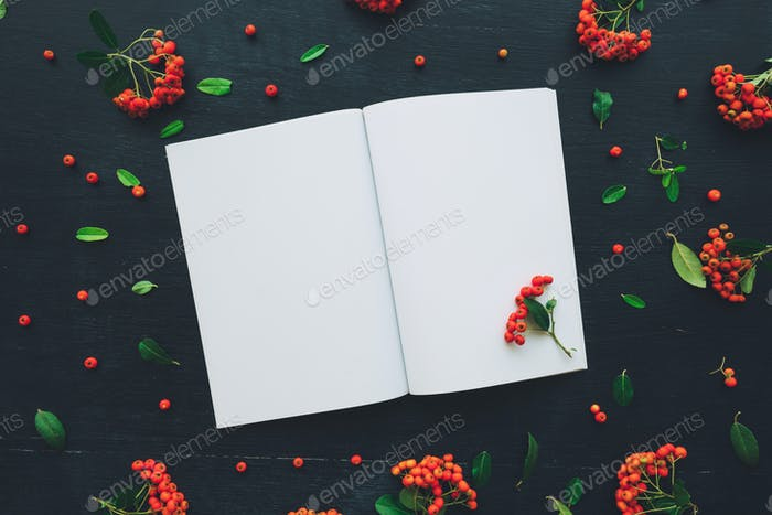 Flat lay top view open blank notebook mock up