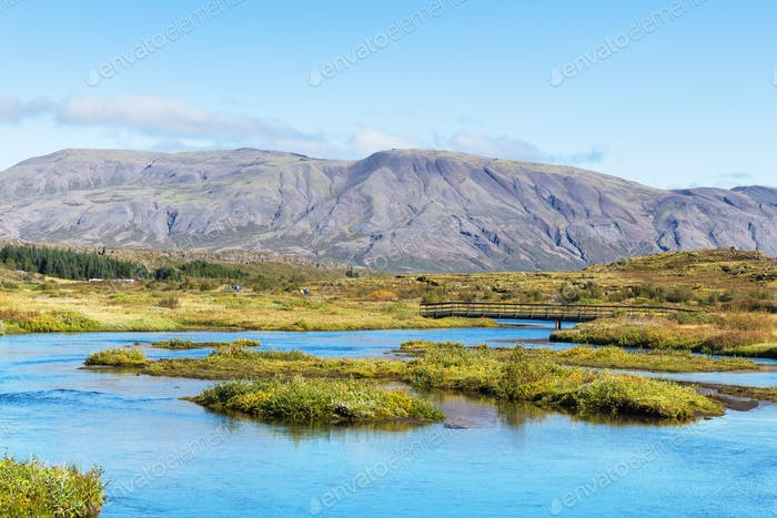 valley of Oxara river in Thingvellir national park