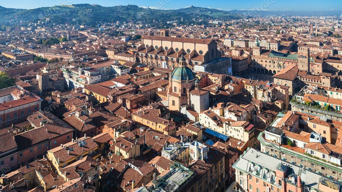 above view of historic center of Bologna city