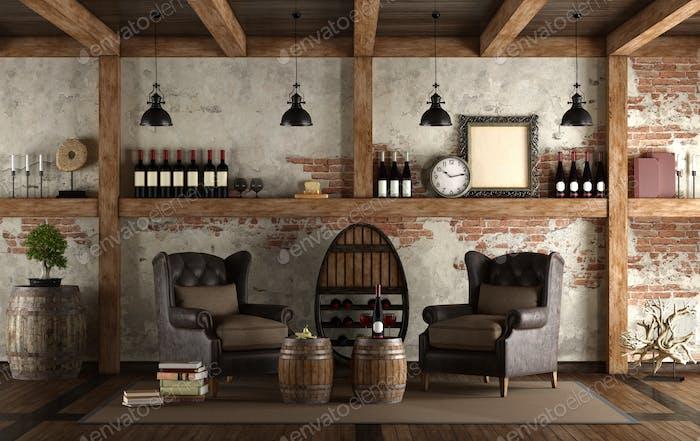 Home wine cellar in retro style Foto von archideaphoto auf ...