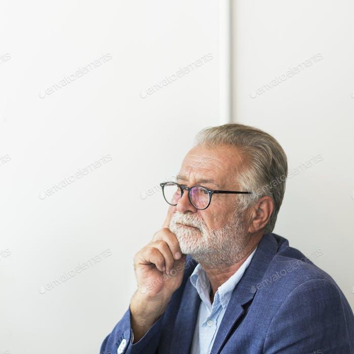 Senior Man Mobile Phone Communication Connection Technology Conc