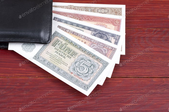 Old money from Germany in the black wallet