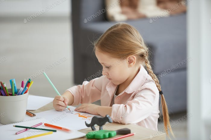 Little Girl Drawing Animals