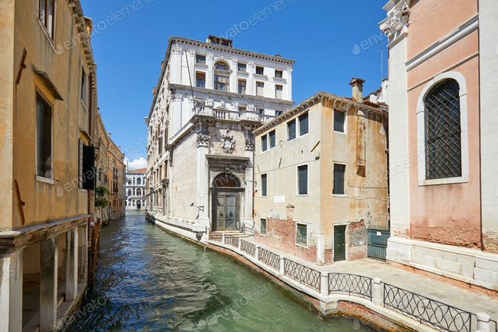 Venice, nobody in the canal and in the street, ancient buildings
