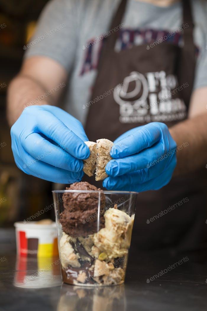 Italian ice cream artisanal preparation