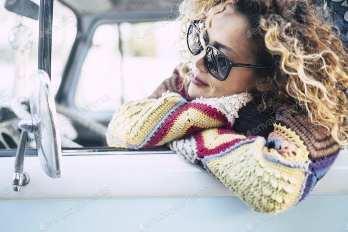 Beautiful portrait of pretty woman enjoy and dream