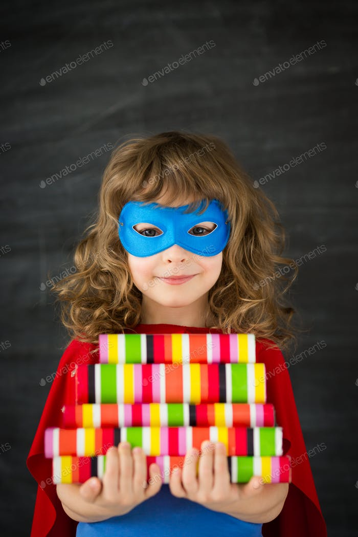 Superhero kid in class