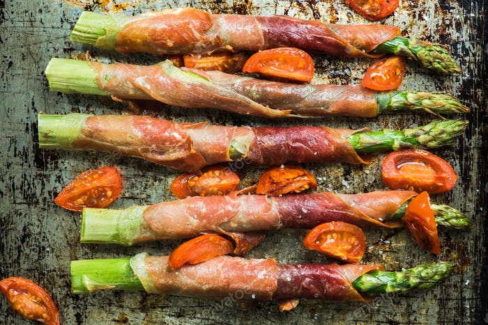 Prosciutto ham wrapped around asparagus