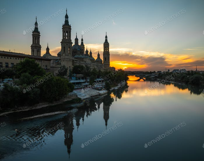 The Cathedral-Basilica of Our Lady of the Pillar at sunset. Zaragoza, Spain