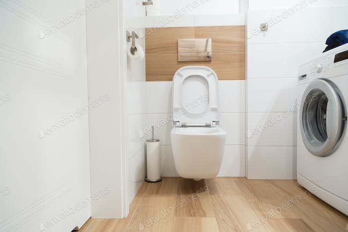Interior modern stylish bathroom with white toilet