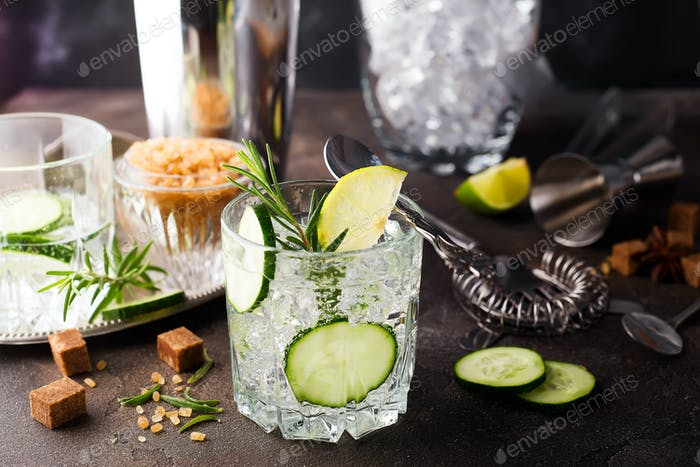 Thumbnail for Homemade lime lemonade with cucumber, rosemary and ice