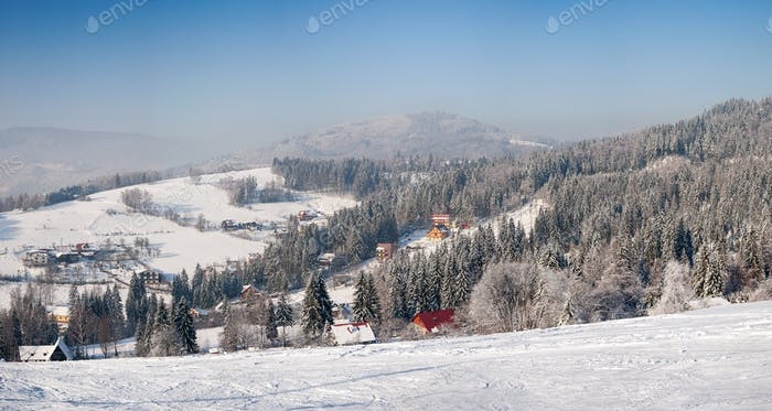 Winter landscape of Beskid Slaski