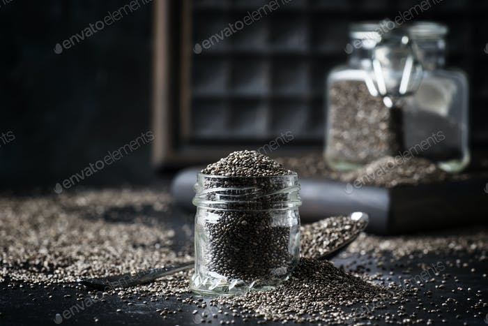 Chia seeds in small glass jar