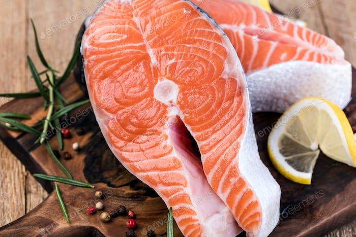 Scheibe roter Fisch Lachs