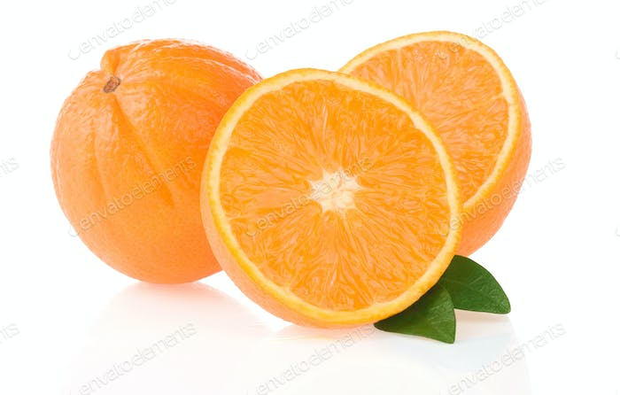 orange fruit and slices isolated on white
