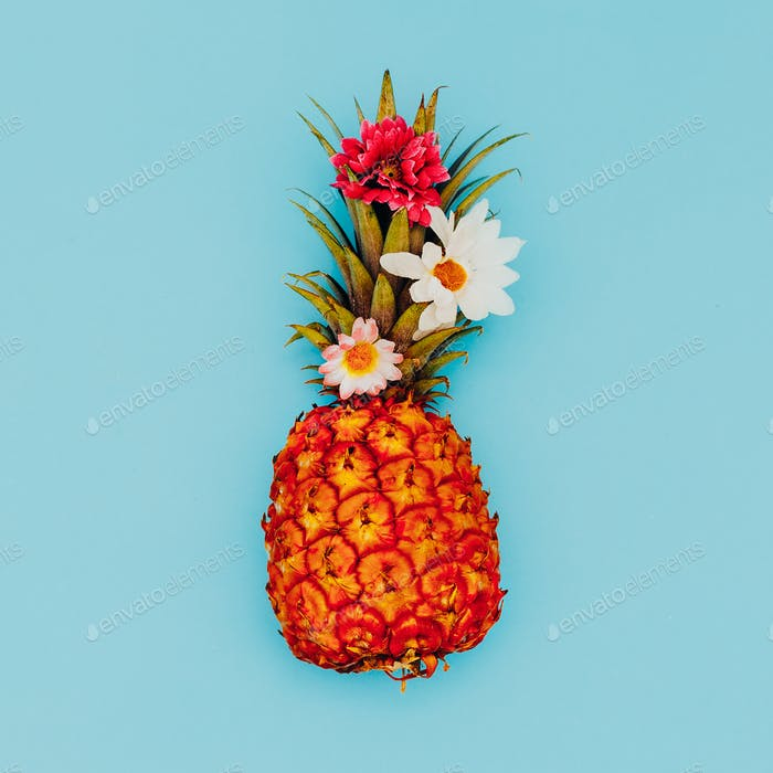 Pineapple and beautiful flowers. Tropical mood. Minimal style