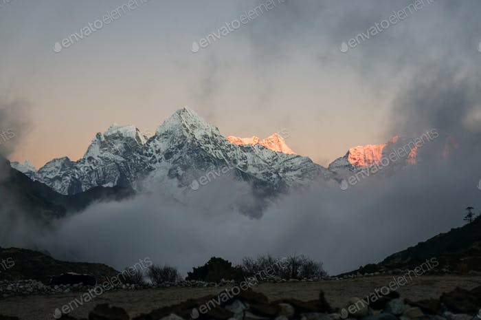Scenic Landscape With Snowy Mountains at Sunset, Nepal, Sagarmatha Zone