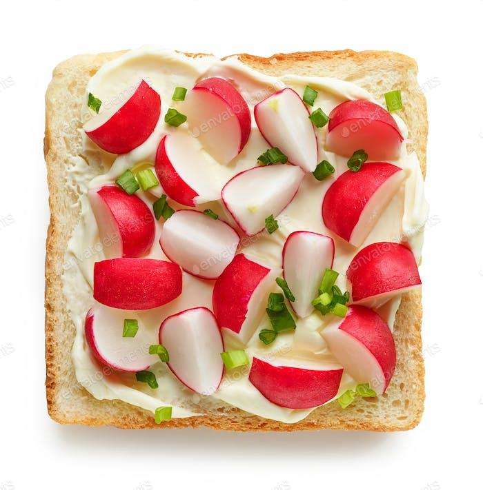 geröstetes Brot mit frischem Rettich