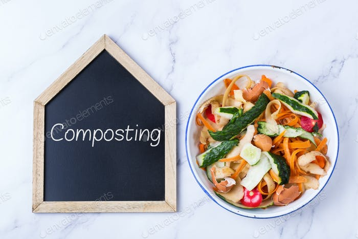Kitchen leftovers for recycling and composting, garbage sorting, zero waste