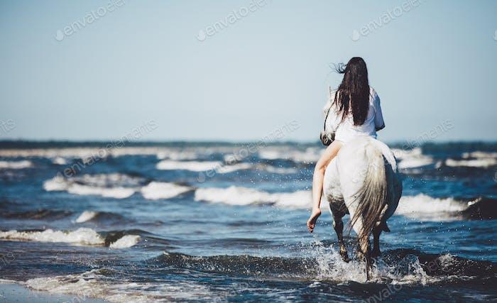 Girl riding on the white stallion in the sea.