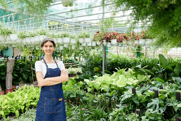Confident plant nursery owner