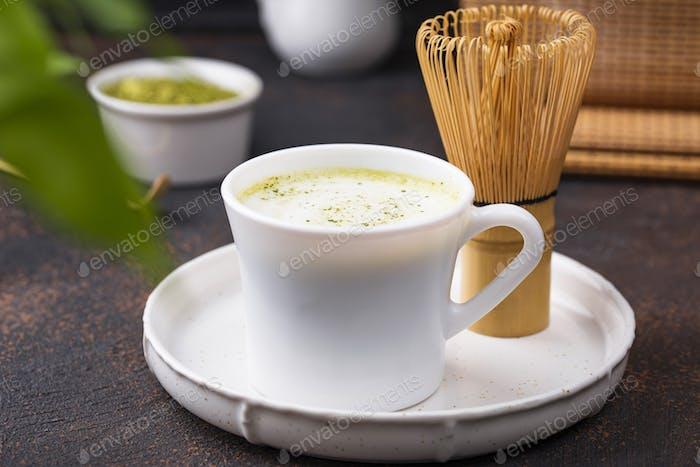 Green healthy matcha latte drink