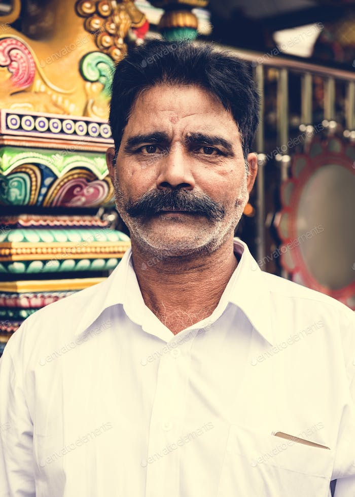 Indian man portrait at the temple